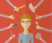 stock photo of multitasking  - Multitasking character - JPG