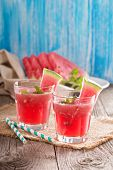 picture of watermelon  - Watermelon drink in glasses with slices of watermelon - JPG