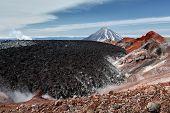 foto of slag  - Summer volcanic landscape of Kamchatka - JPG
