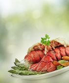 stock photo of lobster tail  - Grilled Lobster Tail  With Asparagus - JPG