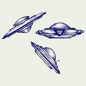 foto of flying saucer  - Space flying saucer - JPG
