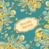 image of blue things  - Doodle floral frame in marine blue orange yellow beige colors for advertising spring summer sale or  template  for different  things - JPG