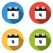 picture of four  - Set of 4 isolated flat colorful buttons  - JPG