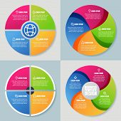 stock photo of diagram  - Set of infographics template abstract colorful circle vector background - JPG