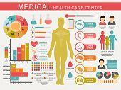 stock photo of health center  - Medical infographics set including statistical charts - JPG