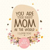 stock photo of i love you mom  - Colorful flowers decorated greeting or invitation card design for 10th May - JPG