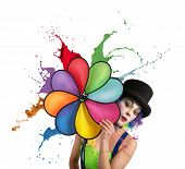 foto of helix  - Clown with a helix rainbow colored dripping - JPG