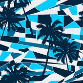 stock photo of pattern  - Abstract surf pattern with palm trees seamless pattern  - JPG