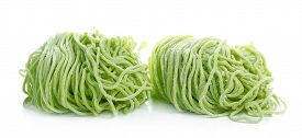 picture of noodles  - Jade noodle vegetable noodles green noodles isolated on white background - JPG