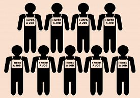 pic of unemployed people  - Persons with words on their chests I need a job - JPG