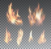Set of realistic fire flames on transparent background poster