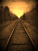 stock photo of train track  - An edidted photo of some train tracks - JPG