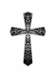 foto of christianity  - Christian ornate black and white cross - JPG