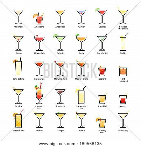 Alcoholic cocktails with