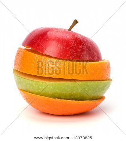 Постер, плакат: нарезанные фрукты изолированные на белом фоне, холст на подрамнике