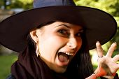 Screaming witch in hat