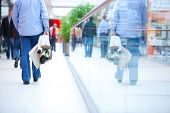 image of shopping center  - People in rush in a modern shopping mall - JPG