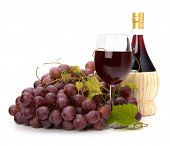 stock photo of wine grapes  - red wine glass - JPG