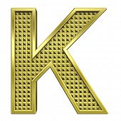 One letter from knurled gold alphabet set, isolated on white. Computer generated 3D photo rendering.