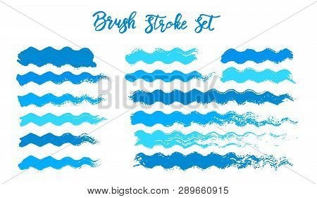 Blue Brush Stroke Waves Vector