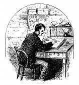 Man Sitting at Desk & Writing in Journal or person writing, sitting at roll top desk, writing in a j poster