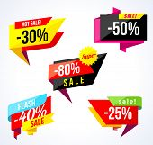 Sale Banner Collection. Colored Stickers And Banners. Geometric Shapes And Confetti. Big Set Of Beau poster