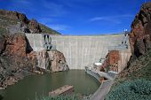 stock photo of superstition mountains  - roosevelt dam in the superstition mountains of arizona - JPG