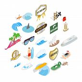 Surfing Icons Set. Isometric Set Of 25 Surfing Vector Icons For Web Isolated On White Background poster