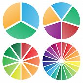 Pie Chart Group Vector Graphic With Modern Soft Bold Gradient Colors, Nice Spacing Between Slices, P poster