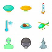 Arrival From Space Icons Set. Cartoon Set Of 9 Arrival From Space Icons For Web Isolated On White Ba poster