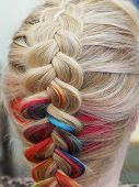 Rainbow Hair In A Braid. Braiding Close Up poster