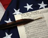 US Constitution, feather pen, and Betsy Ross Flag - Establishing America