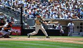 June 22nd, 2008 - Michael Barrett, catcher for the San Diego Padres hitting during a game versus the