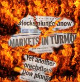 Stock Market Turmoil - newspaper headlines and flaming inferno of investor losses.