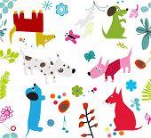 Постер, плакат: Симпатичные собаки бесшовные обои