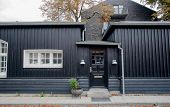 Black Wooden House In Tradition Style Of Old Copenhagen, Denmark. Historical City Street. poster