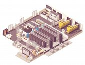 Vector Isometric Data Center. Server Room With Hot And Cold Aisle Containment, Generator, Ups And Ba poster