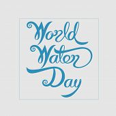 Blue World Water Day Typographical Design Elements.world Water Day Icon.march,22.minimalistic Design poster