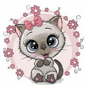 Greeting Card Cute Cartoon Kitten With Flowers poster