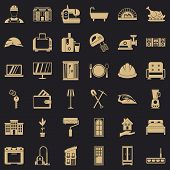 Indoor Icons Set. Simple Style Of 36 Indoor Vector Icons For Web For Any Design poster