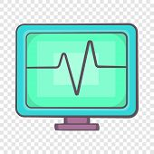 Electrocardiogram Monitor Icon In Cartoon Style On A Background For Any Web Design poster
