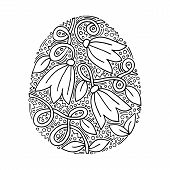 Vector Floral Easter Egg With Handwriting Inscription Happy Easter On White Background poster