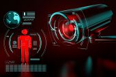Big Surveillance Camera Is Focusing On A Human Icon As A Metaphor Of Collecting Data On Society By S poster