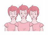 Illustration Of Middle Aged Woman Shown In Different Moods (crying, Angry, Happy). She Experienced M poster