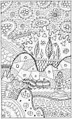 Fantasy Landscape With Surreal Houses And Trees. Psychedelic Fantastic Coloring Page For Adults. Vec poster