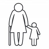 Family Pictogram Old Woman With Grandchild Cartoon Vector Illustration Graphic Design poster