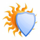 Cosmetic Sun Protect Shield Icon. Cartoon Of Cosmetic Sun Protect Shield Icon For Web Design Isolate poster