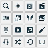 Multimedia Icons Set With Jack, Begin, Search And Other Notebook Elements. Isolated Vector Illustrat poster