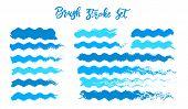 Blue Brush Stroke Waves Vector Set. Hand Drawn Vector Brush Strokes, Ink Splashes, Watercolor Brush, poster