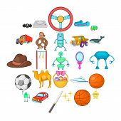 Cool Game Icons Set. Cartoon Set Of 25 Cool Game Icons For Web Isolated On White Background poster